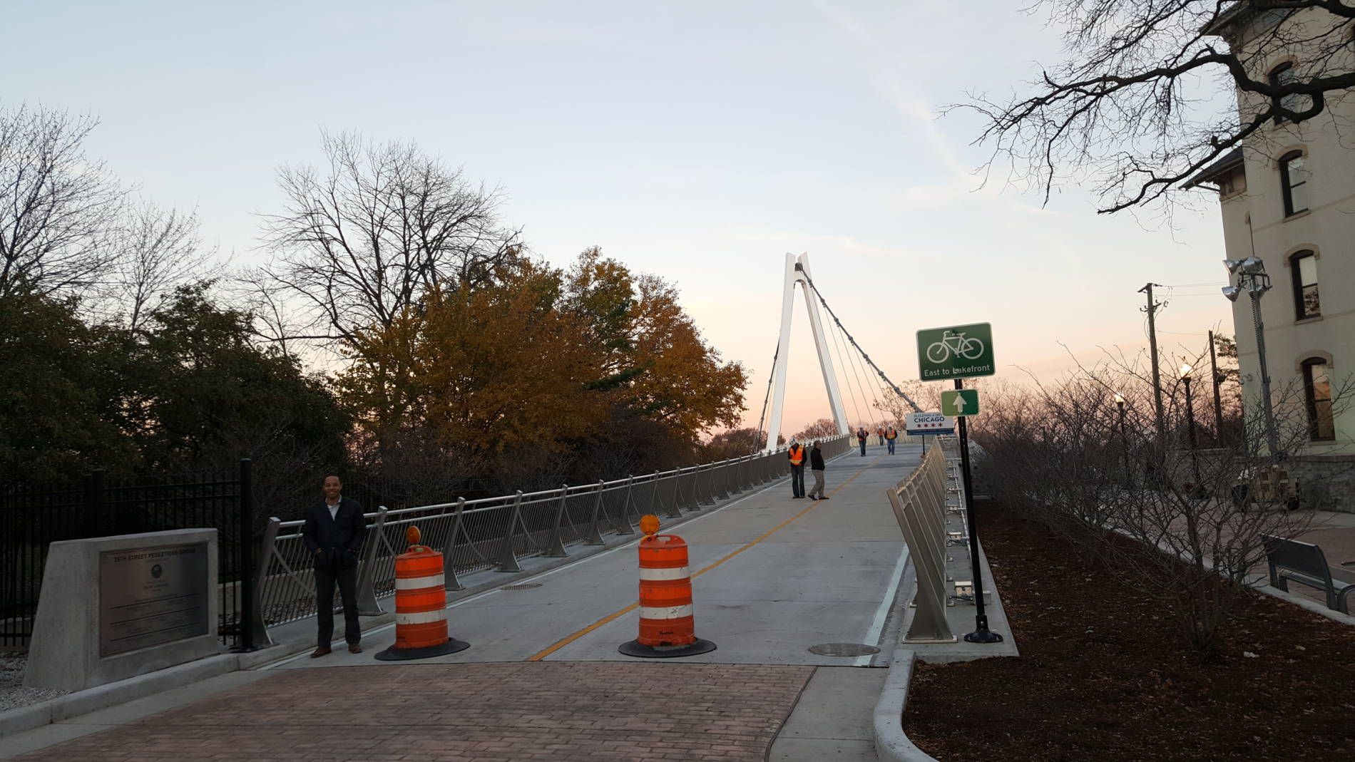Suspension Bridge That Soars Over Lake Shore Drive At 35th Street Opens